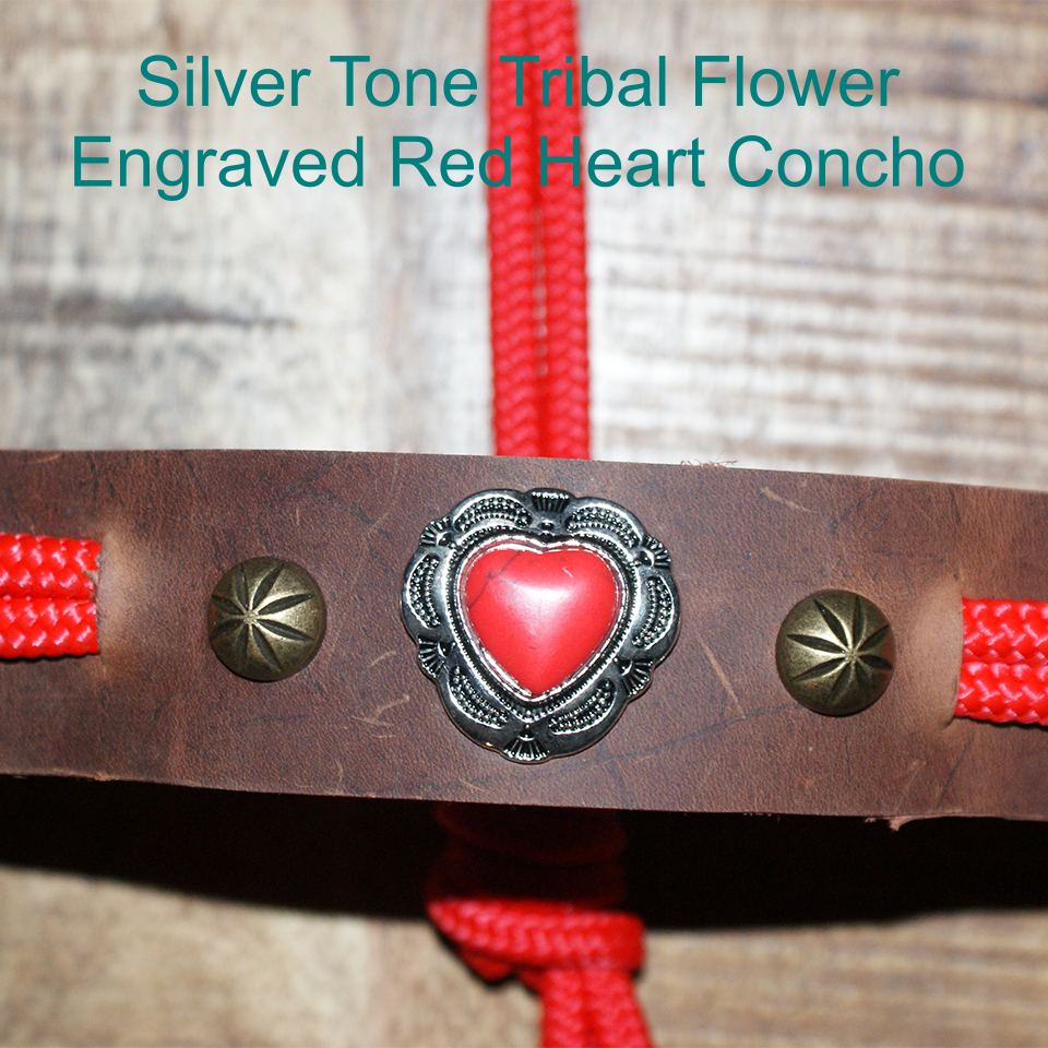 FSHA Flower Engraved Red Heart Concho